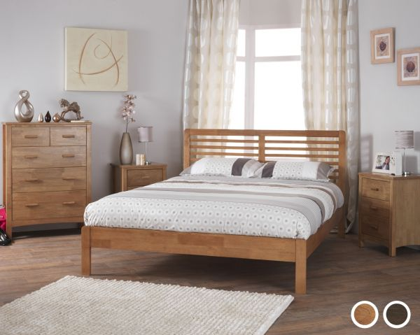 Esther Wood Bed - 5 Sizes - Oak or Walnut