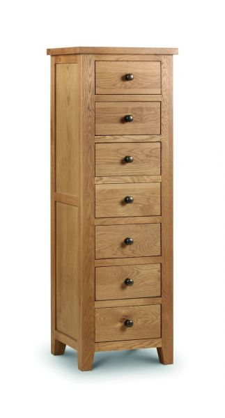 Julian Bowen Marlborough Oak 7-Drawer Tall Storage Chest