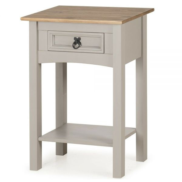 Corona Solid Pine Console Table 1 Drawer Hall - Grey Wax