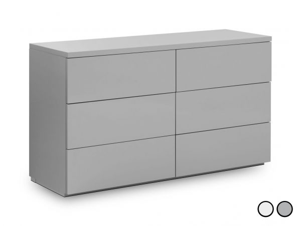 Julian Bowen Monaco 6-Drawer Wide Gloss Chest - White or Grey