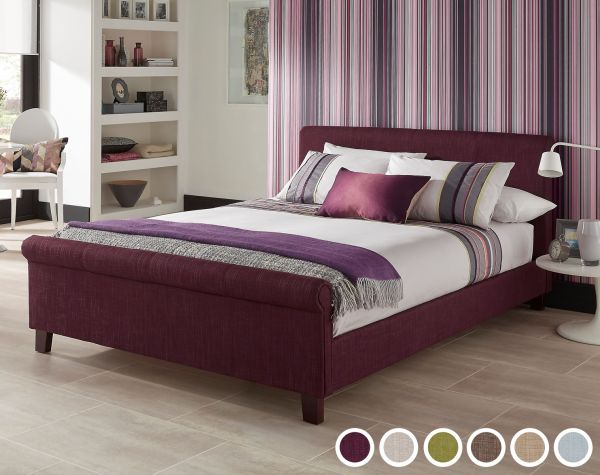 Hazel Fabric Sleigh Bed - 4 Sizes - 6 Colours