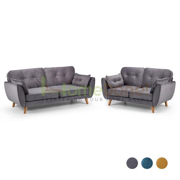 Zin Velvet 3 & 2 Seater Sofa - 3 Colours