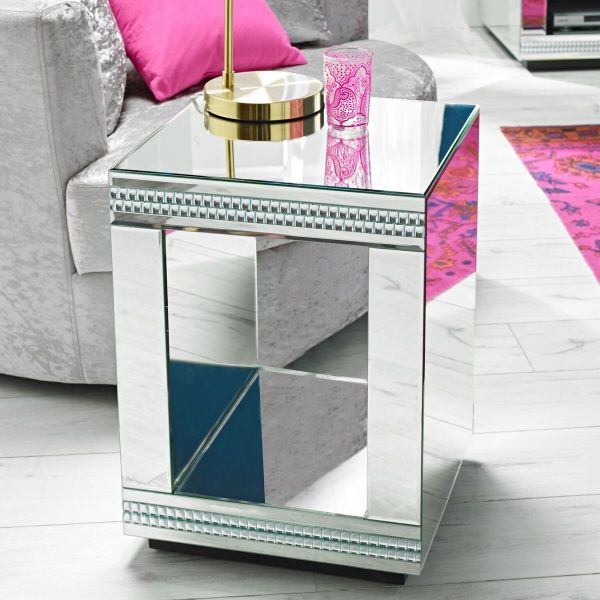 LPD Biarritz Mirrored Cube Lamp Table