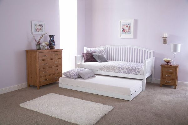 Madrid Wooden Day Bed & Trundle with Mattress - Oak or White