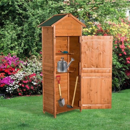 HOMCOM Wooden Timber Single Garden Storage Shed