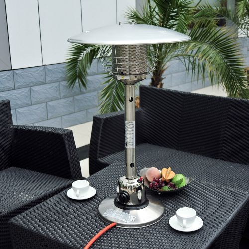 HOMCOM 4 kW Stainless Steel Gas Patio Heater - Silver