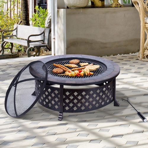 Outsunny Outdoor Black Metal BBQ Fire Pit