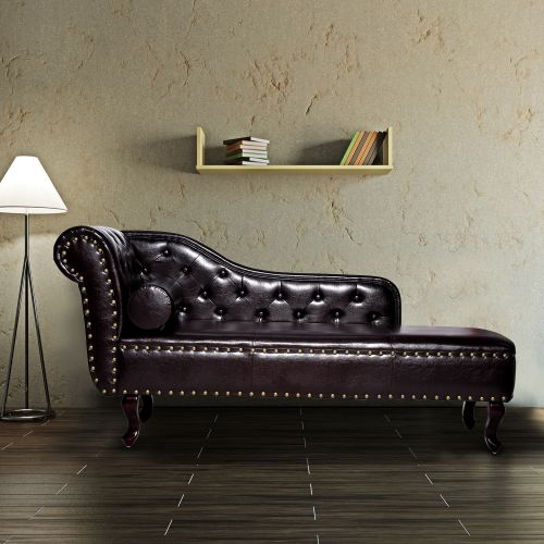 HOMCOM Vintage Faux Leather Chaise Lounge - Dark Brown
