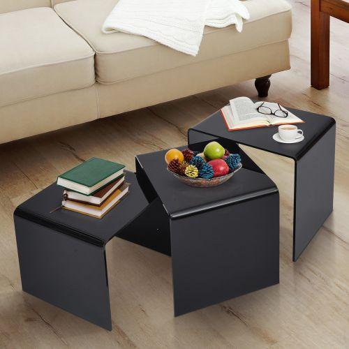 Homcom 3PC Black Acrylic Nest of Tables