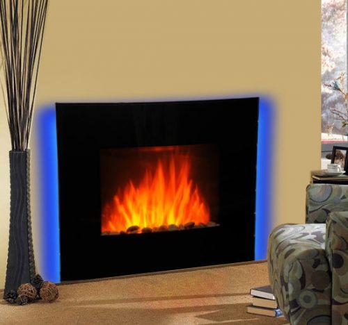 Homcom LED Curved Glass Electric Fire Place