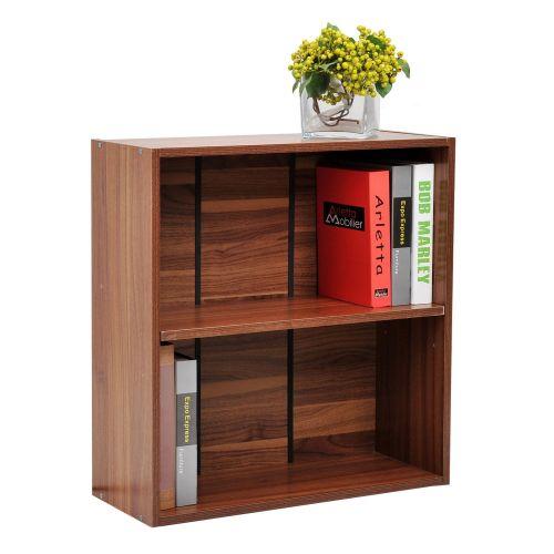 Homcom Wooden 2 Tier Bookshelf - Walnut