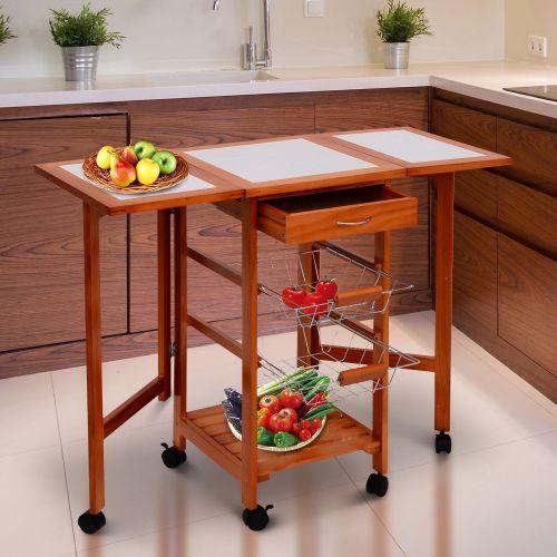 Homcom Wooden Mobile Kitchen Trolley Cart