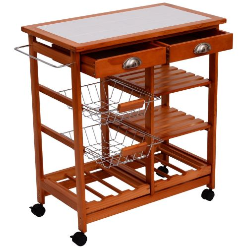HOMCOM Compact Portable Trolley Storage Cart