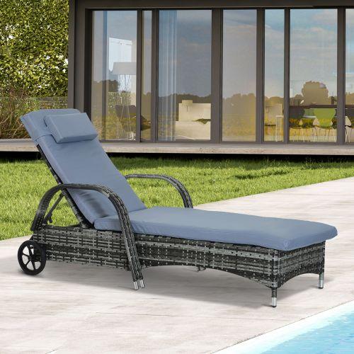 Recliner Rattan Wicker Sun Lounger With Cushion - Grey