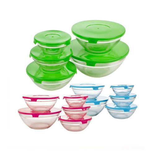 Elegant Coloured Lid 5 PCS Glass Bowl Set - 5 Colours