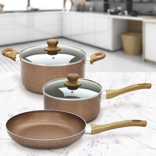 Marble Non Stick Fry Pan Set - 5 Piece