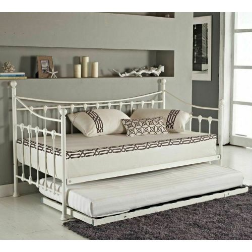 Single Metal Frame Guest Bed With Trundle - 3 Colours
