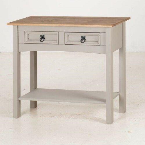 Corona Solid Pine Console Table 2 Drawer Hall - Grey Wax