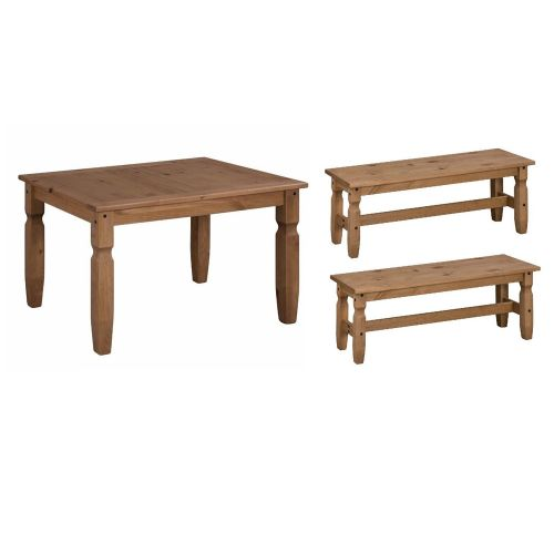 Corona Solid Pine Dining Table 5FT & Bench Set 2 x 4FT - Antique Wax