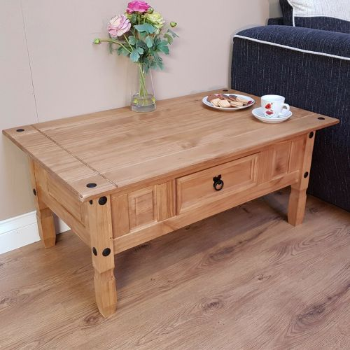 Corona Coffee Table Solid Pine 1 Drawer - Mexican Style