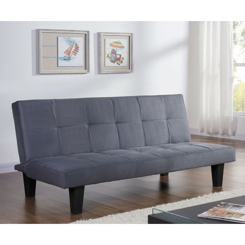 Charcoal 3 Seater Sofa Bed Suede Microfabric Recliner