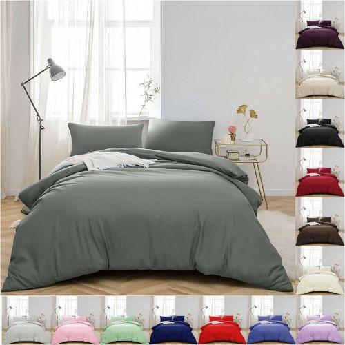 Duvet Cover Plain Dyed Various Colours Bedding Set With 2 Pillowcase - 3 Size