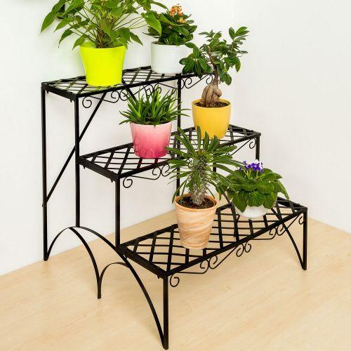 Garden Metal Shelf Plant Pot Stand - 3 Tier