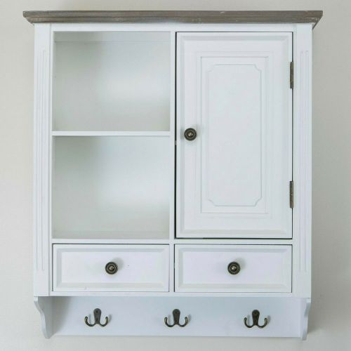 Pine Wood Display Wall Cabinet 2 Drawers Key Hooks - 2 Colours