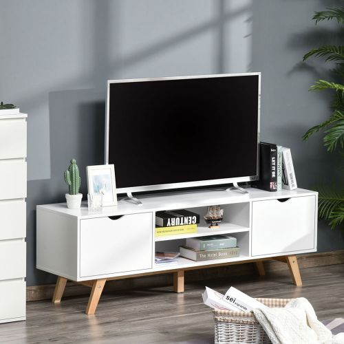 TV Stand 2 Shelves Storage Cabinet Wood Legs - White