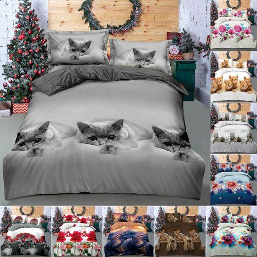 3D Printed Animal Duvet Cover Floral Bed Set