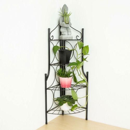 4 Tier Metal Plant Pot Corner Stand - Black Colour