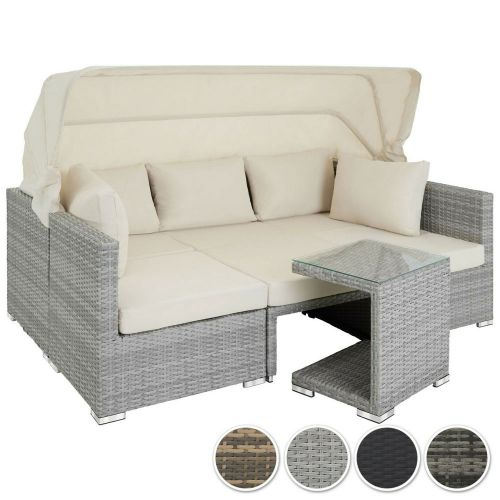 Rattan Daybed Set With Cushions And Sun Awning- 4 Colours