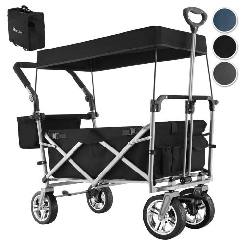 Garden Collapsible Pull Along Trolley With Roof and Removable Cover - 3 Colours