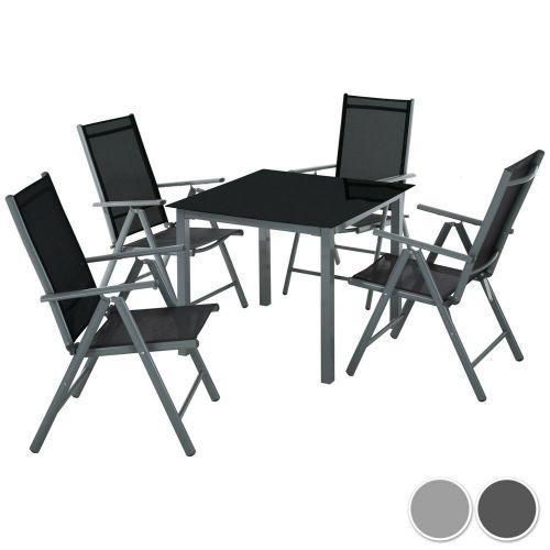 Foldable Aluminium Garden Chair Table Set 5 Pcs - 2 Colours