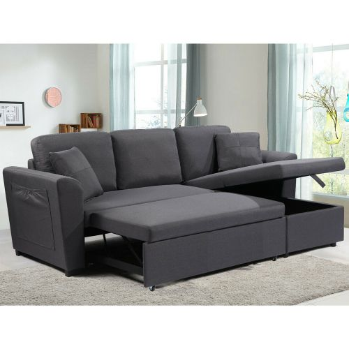 3 Seater Grey Linen L Shape Storage Sofabed