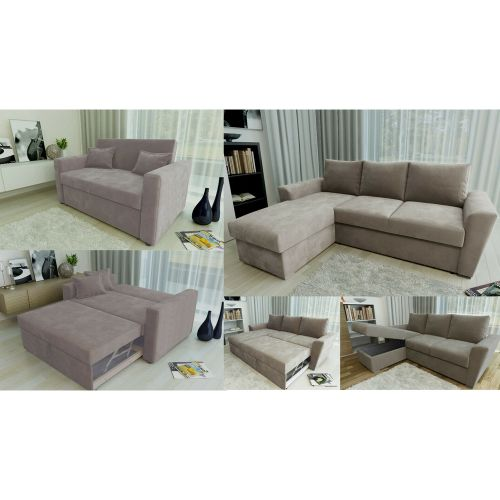 Fabric 2 Seat or Stanford L Shape Pull Out Storage Sofabed