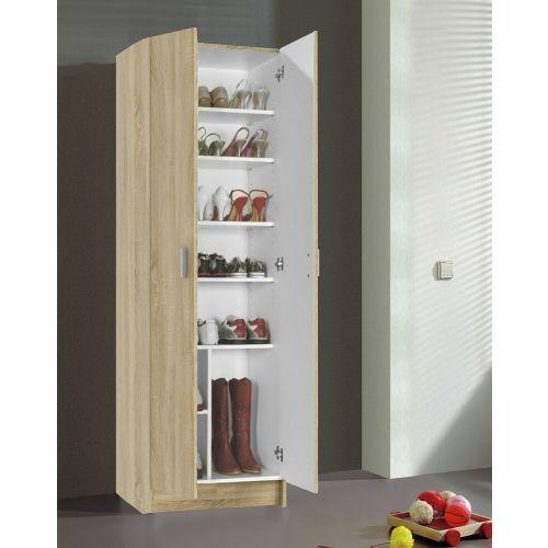 VITA Malemine 2 Door Shoe Cupboard With Shelves - Colours Oak and White