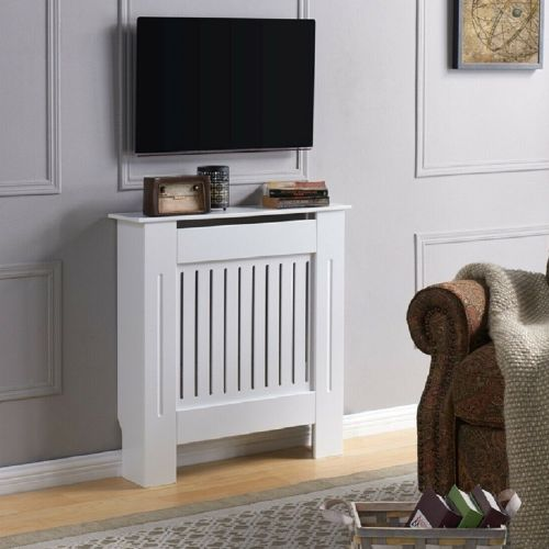 Radiator Wall Cabinet MDF Wood Vertical Grill - 2 Colours