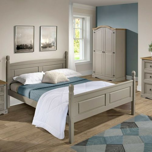 Corona Bed Frame Solid Pine High End Double 4ft6 - Grey Wax
