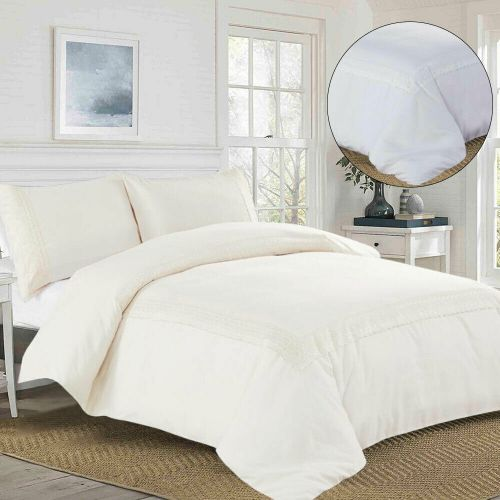 Embroidered Duvet Cover 3 Piece Elegant White and Beige Colours - 3 Sizes