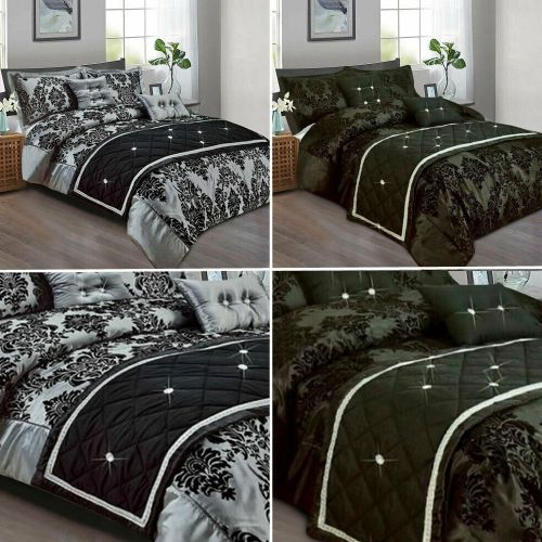 Luxury Damask Flock Duvet Cover 3 Piece Printed 2 Colours - 3 Sizes