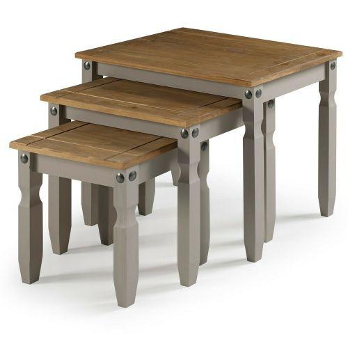 Corona Solid Pine Nest of Tables - Grey Wax