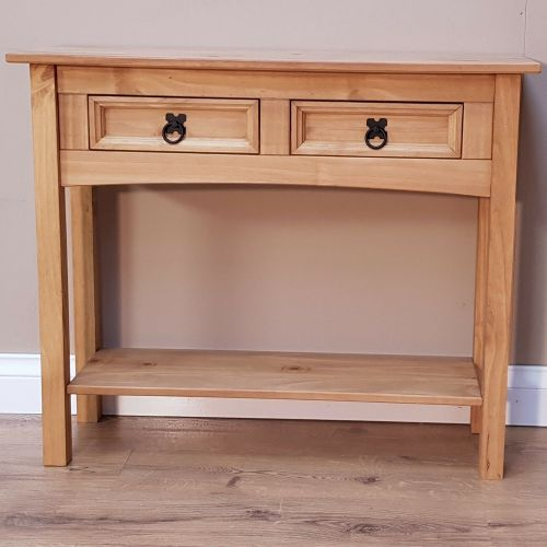Corona Solid Pine Console Table 2 Drawer Hallway - Mexican Style