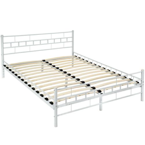 Double Metal Bed Slatted Frame Standard size 140x200 - White  Colour