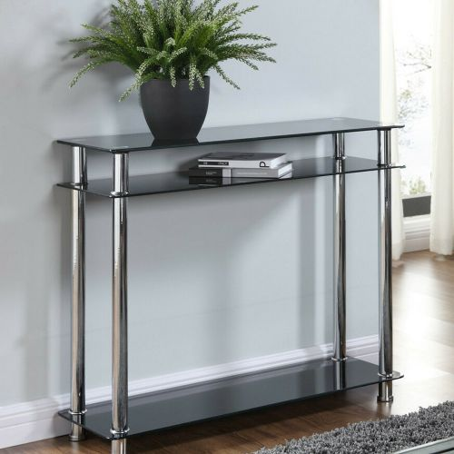 Elegant Black or Clear Glass Chrome Console Table