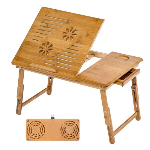 Adjustable Wooden Laptop Table with USB Dual Fan - 55x35x26cm