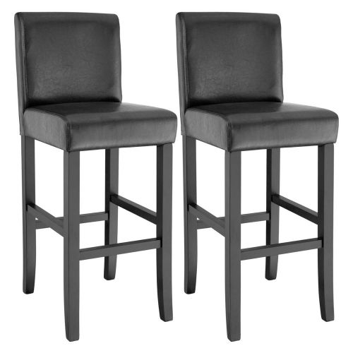 Synthetic Leather Bar Stool Set of 2 - Black Colour