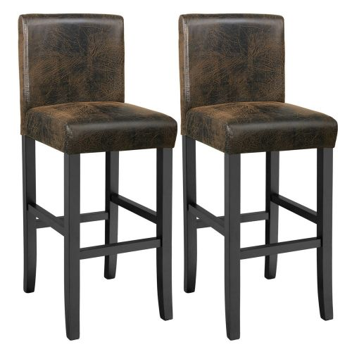 Artificial Leather Bar Stools Antique Brown - Set of 2