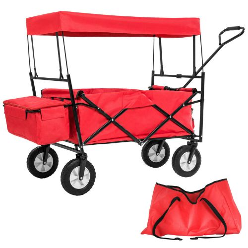 Foldable Cart Garden Transport Trolley With Rear Bag Steel Red