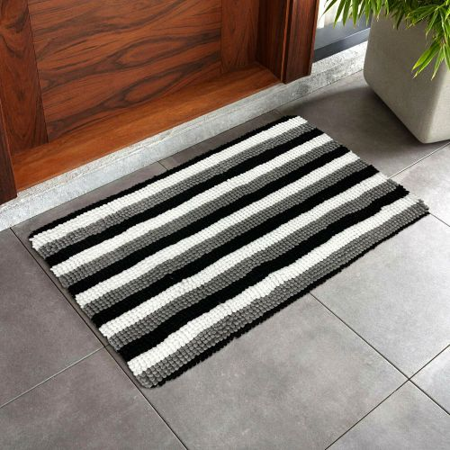 Heavy Duty Anti-Slip Doormat Grey Stripe - Size 50 x 80 cm